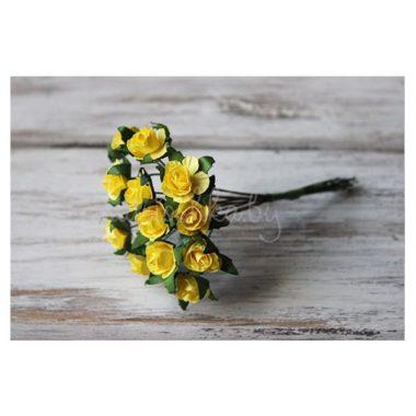 "Роза на стебле ""Жёлтый"", 1.3 см"