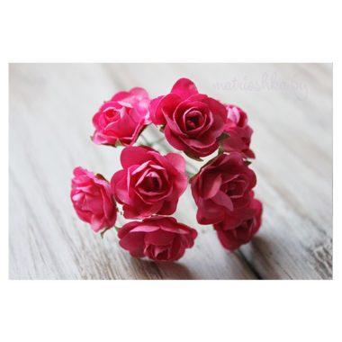 Искусственный цветок Роза «Малиновый», 2 см