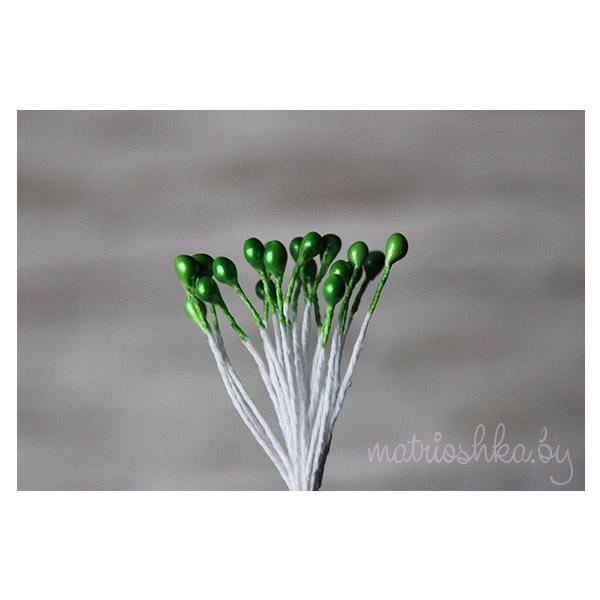 Перламутровые тычинки 3 мм,«Зелёный»