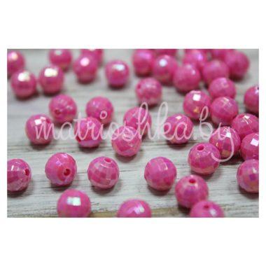 Бусины шар гранёный «тёмно-розовый»