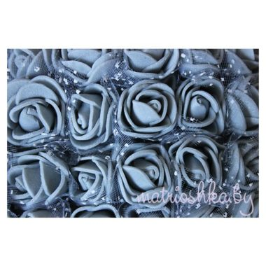 Роза с фатином «Серый», 2 см