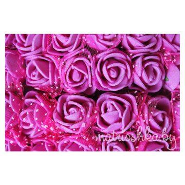 Роза с фатином «Малиновый