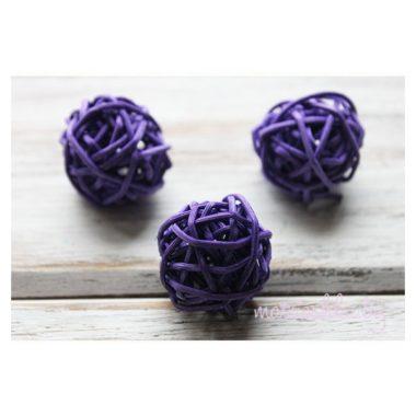Ротанговый шар «Тёмно-сиреневый», 3 см