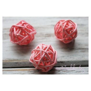 Ротанговый шар «Светло-розовый», 3 см
