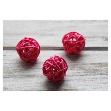 Ротанговый шар «Ярко-розовый», 3 см