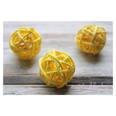 Ротанговый шар «Жёлтый», 3 см