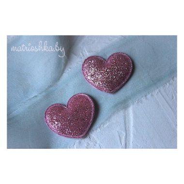 """Патч Сердце """"Розовый"""", 3.5 см* 3 см"""