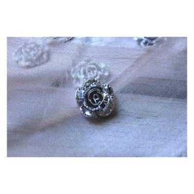 "Кабошон Цветок Розы ""Серебро"", 18 мм"