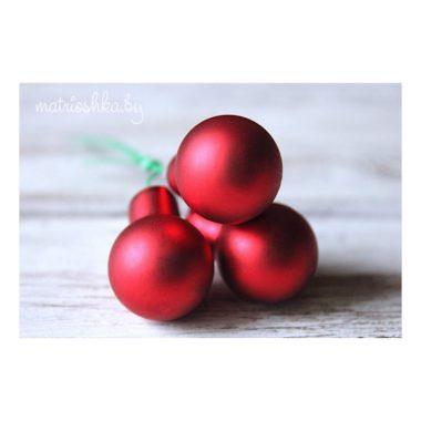 """Новогодние шарики матовые """"Красный"""", 3 шт"""