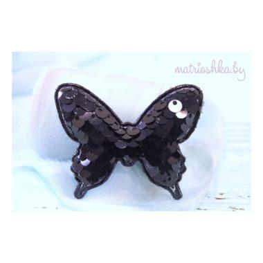 """Патч 3D с пайетками """"Бабочка"""", чёрный"""