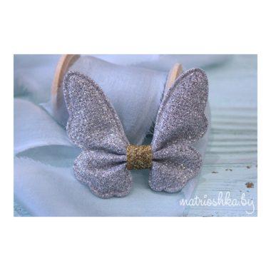 Патч с блестками «Бабочка», серебро