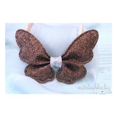 Патч с блестками «Бабочка», шоколадный