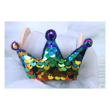 Патч 3D с пайетками «Корона», разноцветный