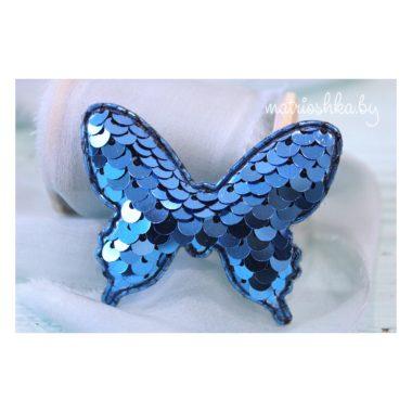 Патч 3D с пайетками «Бабочка», голубой