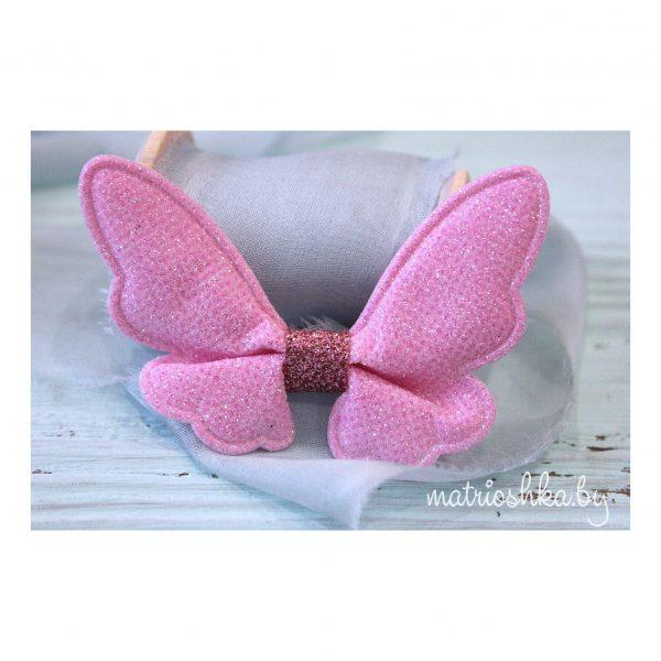 Патч с блестками «Бабочка», светло-розовый