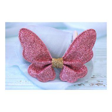 """Патч с блестками """"Бабочка"""", розовый"""