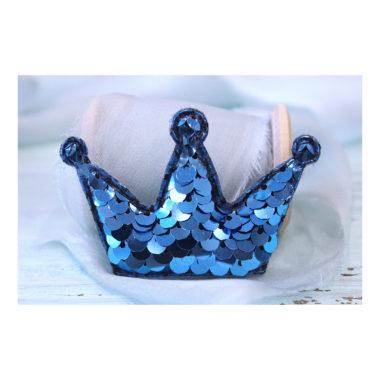 """Патч 3D с пайетками """"Корона"""", голубой"""
