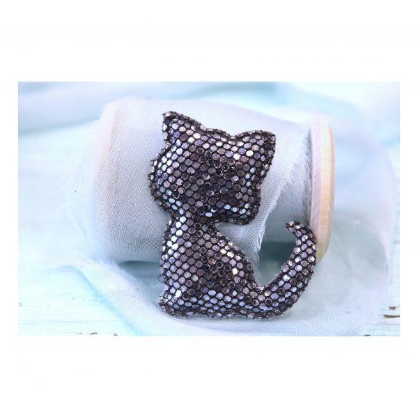 Патч с пайетками «Котенок», серебро/черный