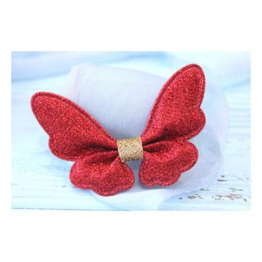 Патч с блестками «Бабочка», красный