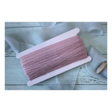 Тесьма эластичная с люрексом, розовый/серебро