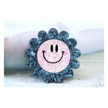 """Патч """"Цветок с улыбкой"""", голубой"""