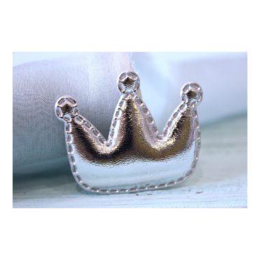 "Патч кожзам ""Корона"" 3,5*3 см, серебро"