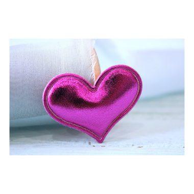 Патч кожзам «Сердце» 3,6*3 см, фуксия