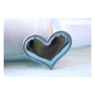 Патч кожзам «Сердце» 3,6*3 см, голубой