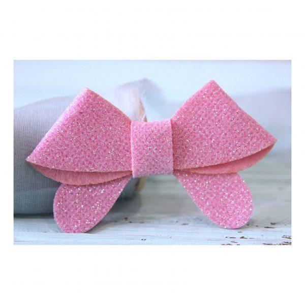 Патч с блестками «Бантик», светло-розовый