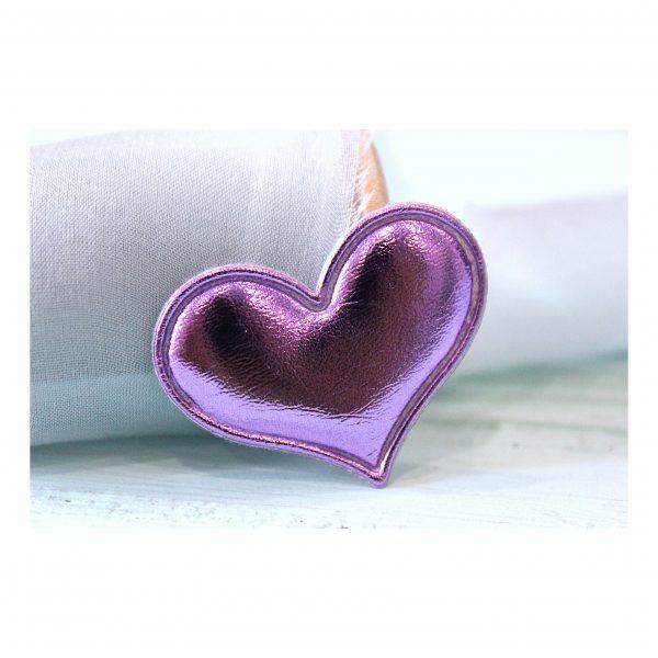 Патч кожзам «Сердце» 3,6*3 см, фиолетовый