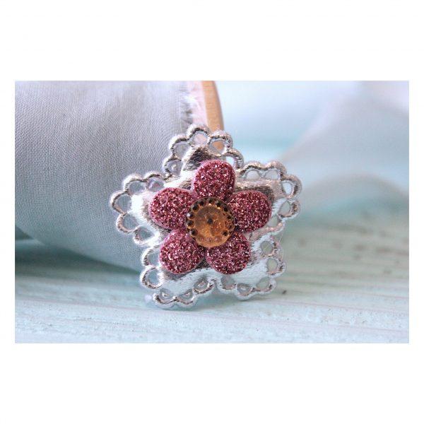 Патч с декором «Цветок», серебро, 3 см