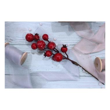 """Веточка с крупными ягодами """"Красный"""", 21 см"""