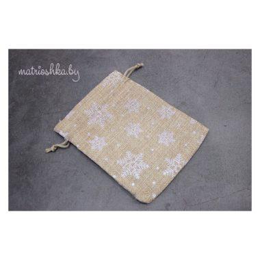 Подарочный мешочек «Снежинка», мешковина